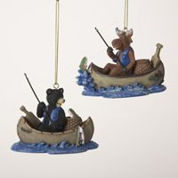 A0881 Fishing Moose/Black Bear in Canoe Ornament